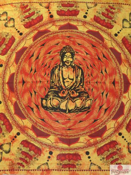 Ritualdecke - Buddha on Lotus yellow - Doppelt