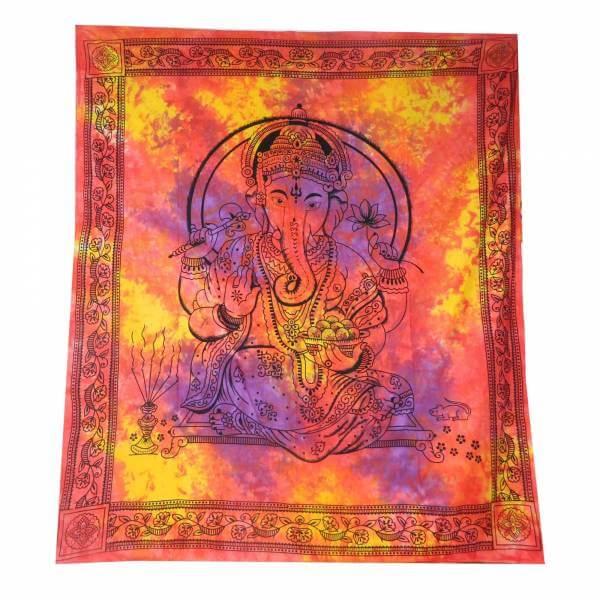 Ritualdecke Tagesdecke- Ganesha rot -gelb Doppelt