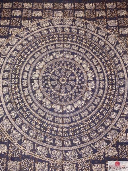 Ritualdecke - Elefanten-Mandala blau - Doppelt