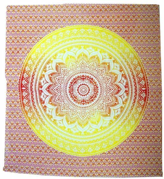 Ritualdecke - Mandala rot-gelb-orange - Doppelt