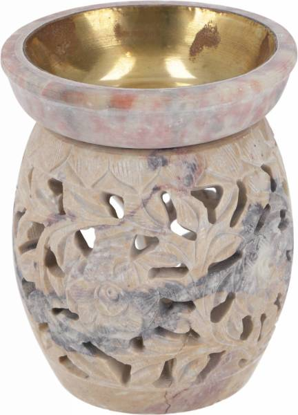 Duftlampe aus Speckstein - Rund Blüte