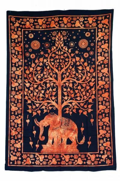 Ritualdecke Tagesdecke Wandbehang Lebensbaum Elefant - Normalgröße
