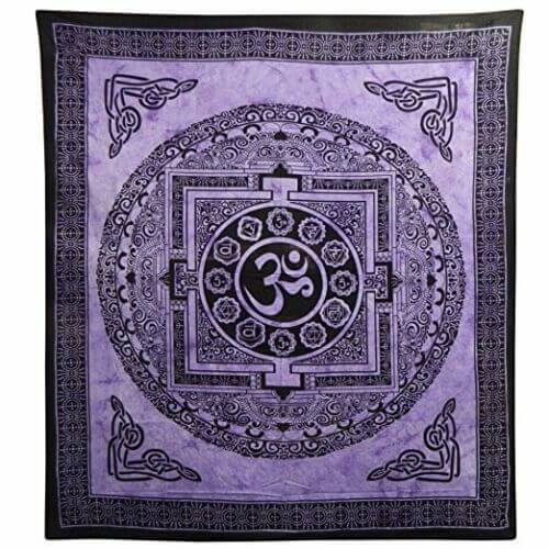 Ritualdecke - OM Mandala violett Doppelt