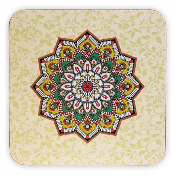 Untersetzer Mandala grün Set von 6 Stück