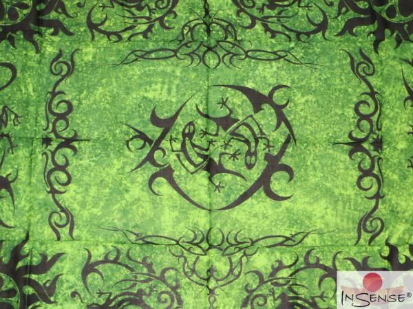 "Lunghi | Sarong ""Geckos in Change"" - dunkelgrün"
