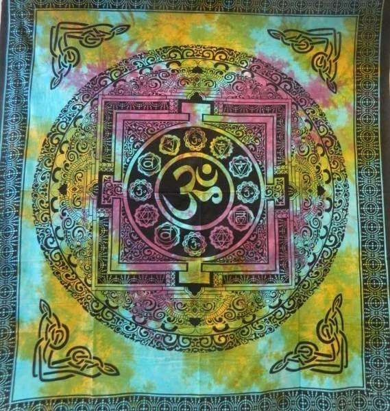 Ritualdecke - OM Mandala bunt- Doppelt