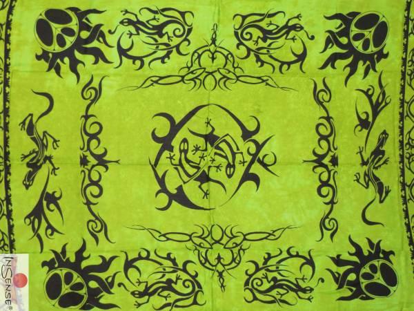"Lunghi | Sarong ""Geckos in Change"" - grün"
