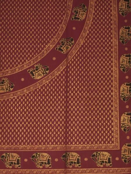 Ritualdecke purpur Elefanten Golddruck