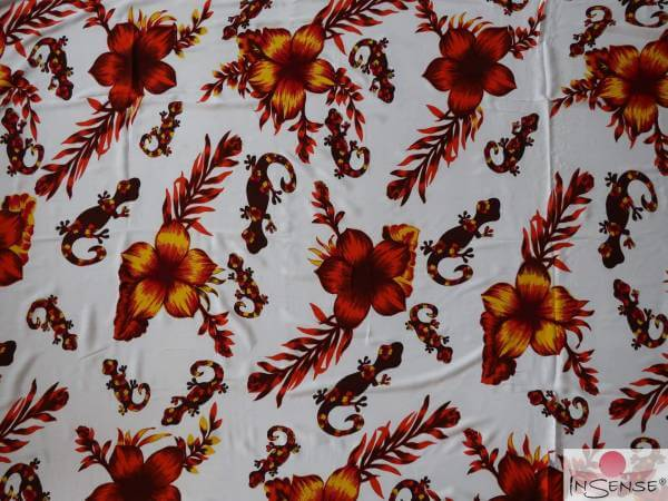 "Lunghi | Sarong ""Geckos & Flowers"" red"