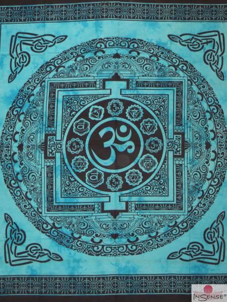 Ritualdecke - OM Mandala türkis - Doppelt
