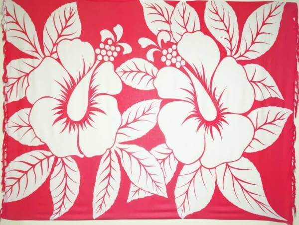 "Lunghi / Sarong ""Hibiscus"" Red"