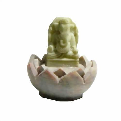 Räucherstäbchenhalter Ganesha in Lotusblüte aus Speckstein