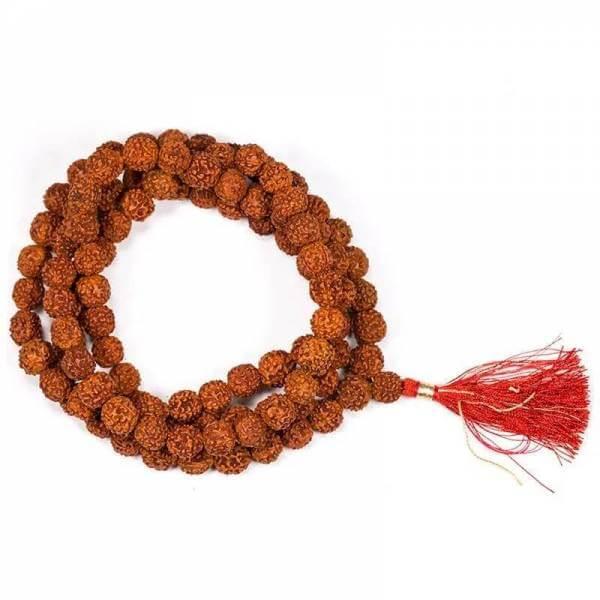 Mala Rudraksha 108 Perlen mit roter Quaste
