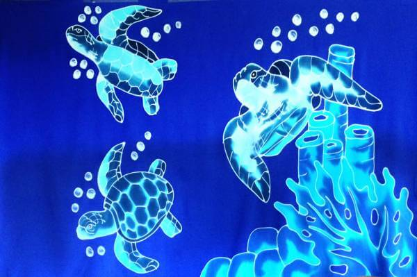 "Hawaii Pareo | Sarong ""Turtle"" blue"