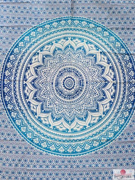 Ritualdecke - Mandala blau-türkis - Doppelt
