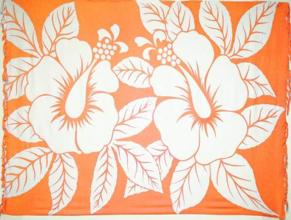 "Lunghi / Sarong ""Hibiscus"" Orange"