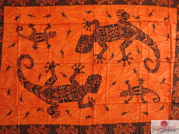 "Lunghi | Sarong ""Gecko-Mania"" orange"