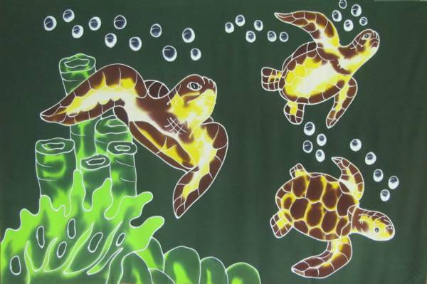 "XL Hawaii Lunghi / Pareo ""Turtle"" dark green"
