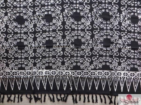"XL Premium Lunghi | Sarong - ""Wailele"" schwarz-weiß"