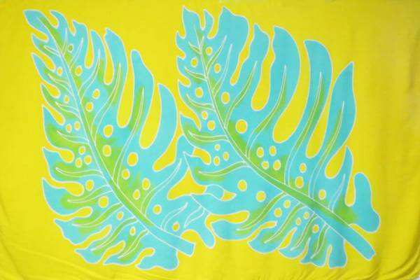 "Hawaii Pareo | Sarong ""Big Leaf"" yellow-turquoise"