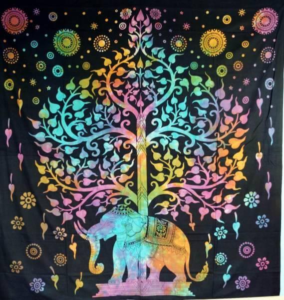 Ritualdecke Tagesdecke Wandbehang Lebensbaum Regenbogen - Normalgröße