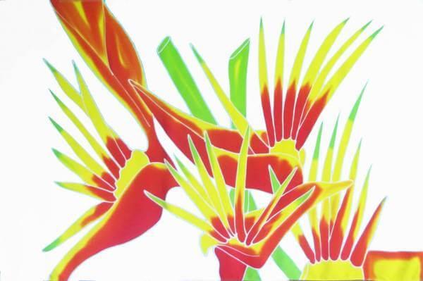 "Hawaii Pareo | Sarong ""Bird of Paradise"" white"