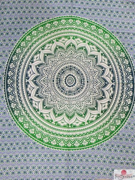 Ritualdecke - Mandala grün-blau - Doppelt