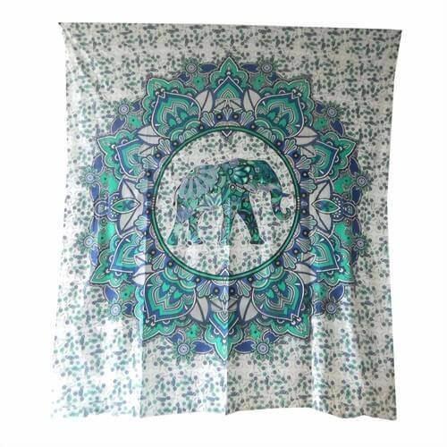 Ritualdecke-Elefanten Mandala Grün - Doppelt