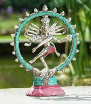 Shiva - Nataraj Messing Versilbert groß