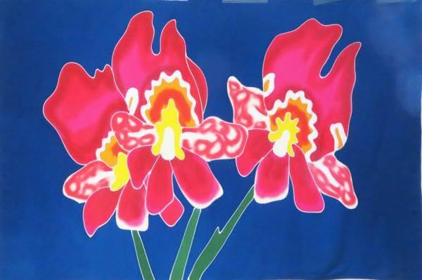 "Hawaii Pareo | Sarong ""Orchidee Asia"" dark blue"