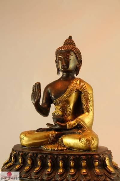 Buddha Amoghasiddi - Messing gold-braun