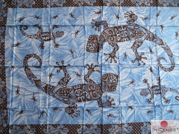 "Lunghi | Sarong ""Gecko-Mania"" blau"