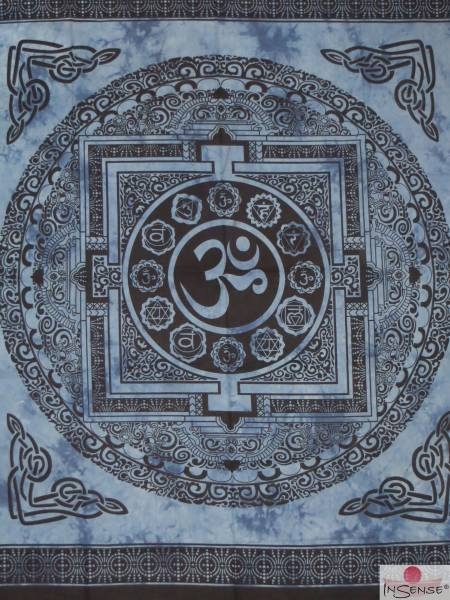 Ritualdecke - OM Mandala blau - Doppelt