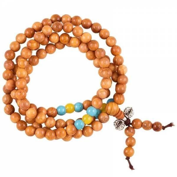 Mala Holz elastisch mit Zierperlen und Dorje