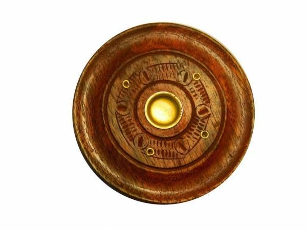 Räucherstäbchenhalter Holzteller Mangobaumholz 7,5 cm
