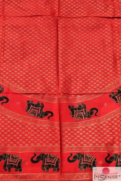 Ritualdecke - Elefanten Golddruck - rot Doppelt