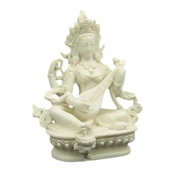 Saraswati Statue weiß 15 cm