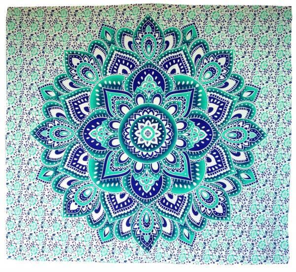 Ritualdecke Tagesdecke Wandbehang Mandala grün / blau - Doppelgröße