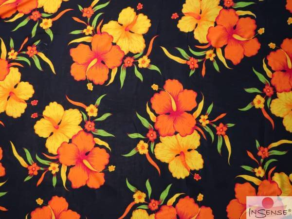 "Lunghi | Sarong - ""Tropical"" schwarz-orange"