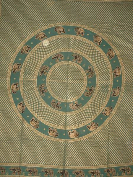 Ritualdecke - Elefanten Golddruck grün - Doppelt