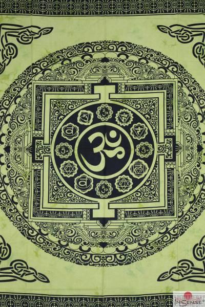 Ritualdecke - OM Mandala grün - Doppelt
