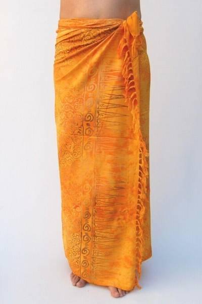 "Premium Lunghi   Sarong - ""Elegance"" orange-gold"