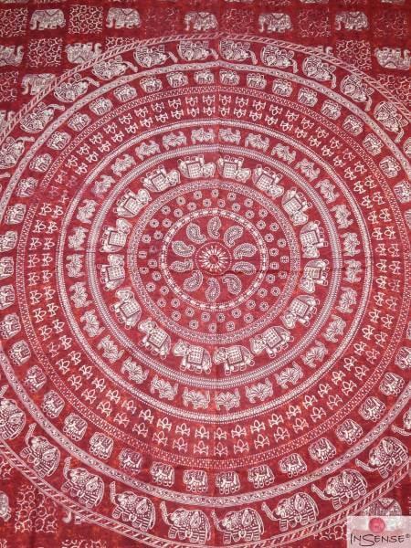Ritualdecke - Elefanten-Mandala rot - Doppelt