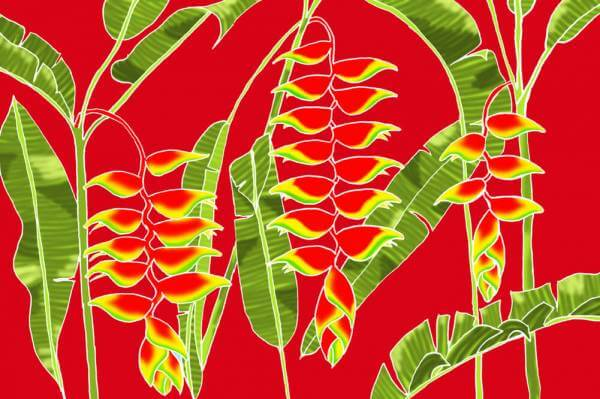 "Hawaii Pareo | Sarong ""Heliconia"" red"