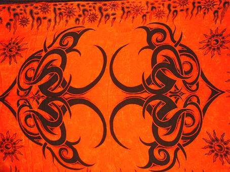 "Lunghi | Sarong - ""Tattoo"" orange"