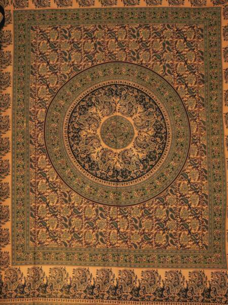 Ritualdecke - Paisley grün 1 - Doppelt