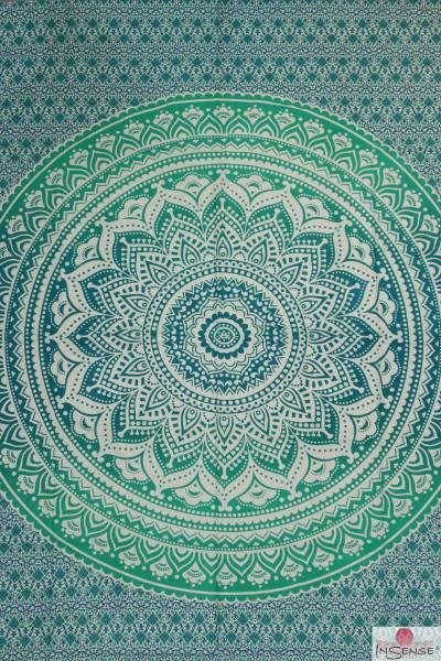 Ritualdecke - Mandala grün-türkis - Doppelt