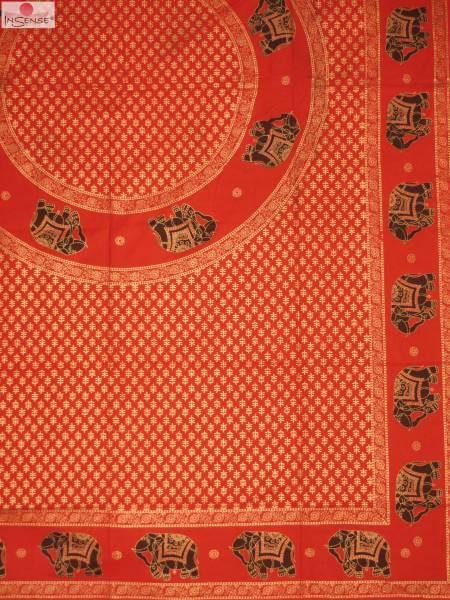 Ritualdecke - Elefanten Golddruck rot - Normal