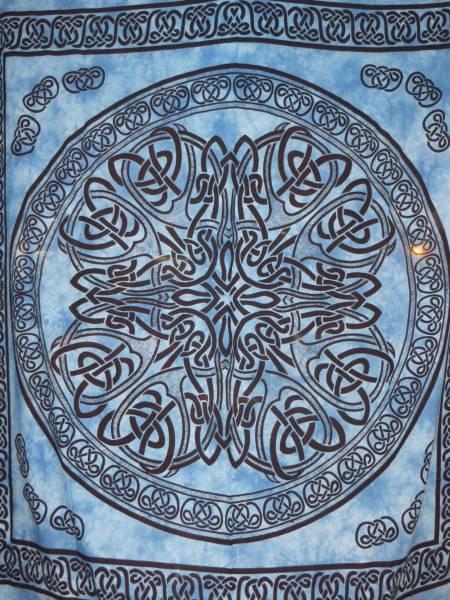 Ritualdecke - Celtic Mandala blau- Doppelt