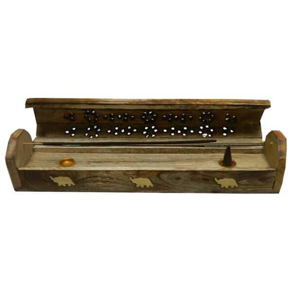 Räucherstäbchen-Halter - Holz-Box mit Vorratsfach Elefanten